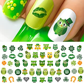 St. Patricks Day Owls Water Slide Nail Art Decals Set #4 - Salon Quality!