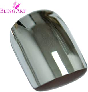 Bling Art False Nails French Fake Metallic Chrome Silver 24 Squoval Medium Tips