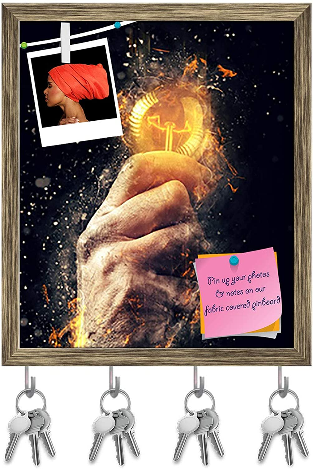 Artzfolio Hand with Light Bulb Key Holder Hooks   Notice Pin Board   Antique golden Frame 16 X 18.8Inch