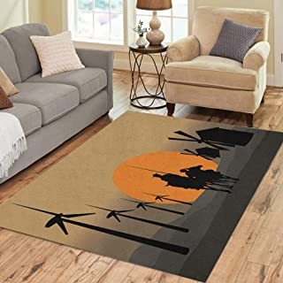 Semtomn Area Rug 2' X 3' Silhouette of Don Quixote De La Mancha Cervantes Spanish Home Decor Collection Floor Rugs Carpet for Living Room Bedroom Dining Room