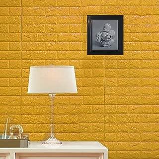 Efavormart 10 PCS 58 Sq.Ft Gold Self-Adhesive Wall Panels 3D Faux Waterproof Foam Bricks Peel and Stick Foam Wall Home Decor
