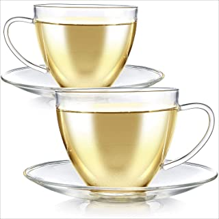 Teabloom Royal Teacup and Saucer Set 2-Pack – Large Size – 12 OZ/ 350 ML Capacity – Crystal Clear Classic Design – Glass Mug Set – Premium, Healthful Borosilicate Glass – Durable and Heat Resistant