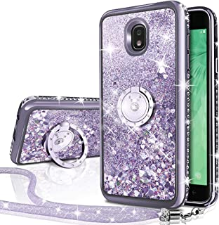 Galaxy J7 Refine/J7 2018/J7 Star/J7 Top/J7 Aura/J7 Aero/Crown/Eon Case, Silverback Girls Women Moving Liquid Holographic Glitter Case with Ring Stand Bling Case for Samsung J7 V 2nd Gen -Silver