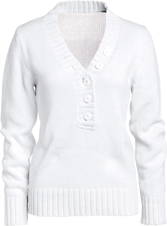 ellos Women's Plus Size Button Y-Neck Sweater Pullover