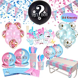 Gender Reveal Party Supplies & Tableware Set (223 Pieces)   Serves 24 Guests   Complete Gender Reveal Decoration Set with Plates, Spoons, Forks, Napkins, Photo Props, Confetti Balloons, 36 Inch Baby Reveal Balloon, Tablecloth, Pink and Blue Balloons and Much Much More!!! - RSA Products