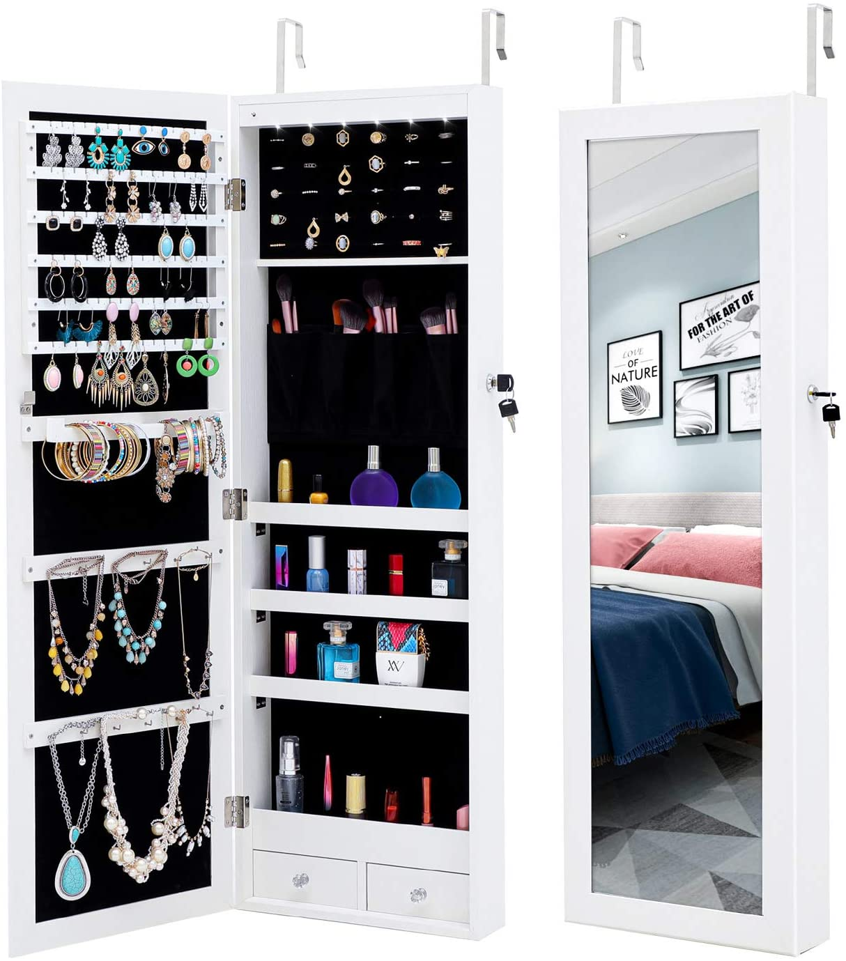 MIYACA 6 LEDs Jewelry Mirror Armoire Organizer, Lockable Jewelry Cabinet Wall/Door Mounted, with Full Length Dressing Mirror and Larger Capacity, White