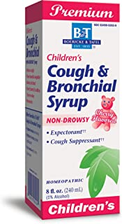 Boericke & Tafel Children's Cough & Bronchial Syrup, Cough Suppressant & Expectorant, Non-Drowsy, Homeopathic, Cherry Flav...