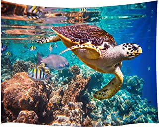JAWO Sea Creature Tapestry, Animal Turtle and Corals in Deep Ocean Tapestry Wall Hanging Wall Dorm Room Living Room Bedroom Blanket Bedspread 71x60inches