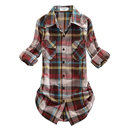 a8a1866630e Match Women s Long Sleeve Flannel Plaid Shirt