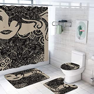 Modern Decor 60x70 inch Shower Curtain Sets,Woman with Cool Posing Wavy Sexy Hot Hair and Vamp Makeup Image Print Toilet Pad Cover Bath Mat Shower Curtain Set 4 pcs Set,Tan and Dark Taupe