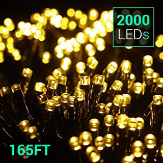 Quntis 2000 LEDs Christmas String Lights - Outdoor & Indoor 165Ft Waterproof Fairy Lights 8 Modes Holiday Decoration Twinkle Lights for Home Garden Wedding Party Xmas Tree, UL588 Approved, Warm White