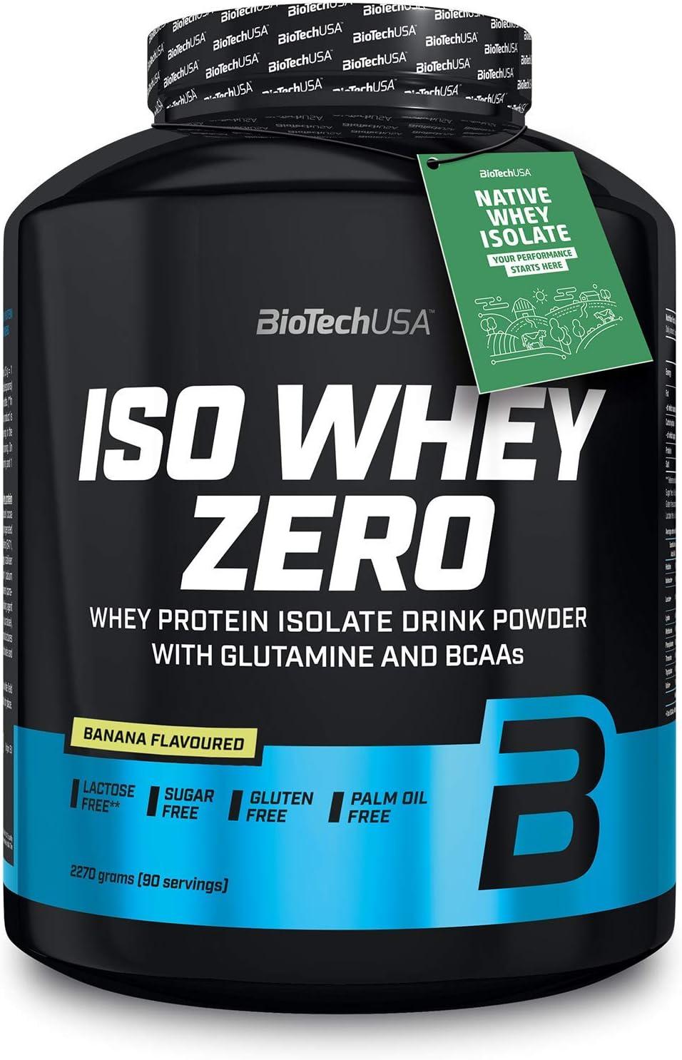 Biotech Isowhey Zero Lactose Free, Proteínas con sabor de Plátano, 2270 gr