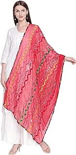Woman's Multicoloured Embroidered Chiffon Dupatta