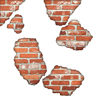 Faux Brick Wall Decals, Brick Breakaway Wall Decals, Repositionable Peel and Stick Matte Fabric Decals