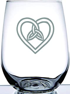 IE Laserware Irish Celtic Heart and Trinity Knot Laser Etched Engraved Stemless Wine Glass. Great Irish Gift
