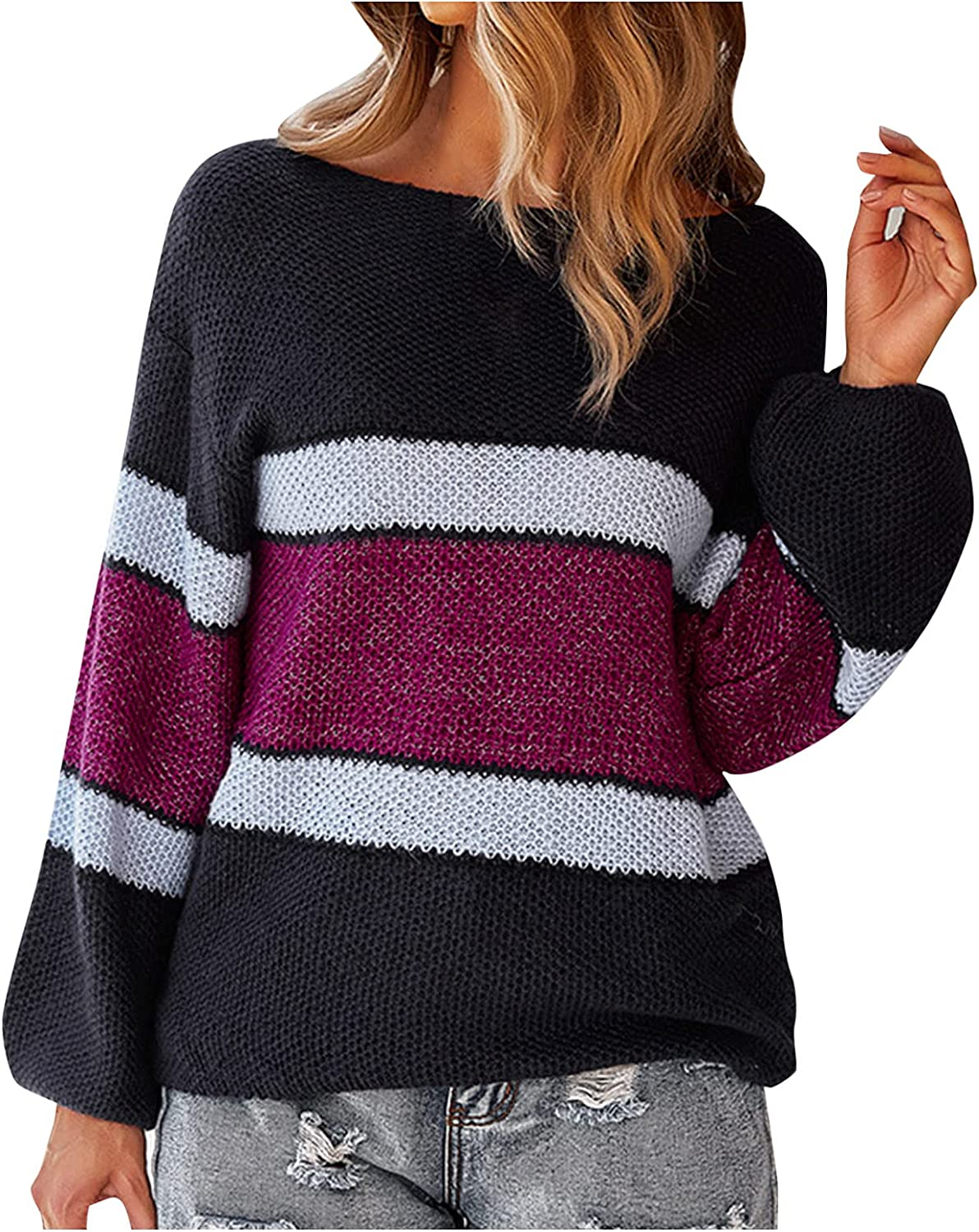 RUIY Women's Stripe Color Block Fall Sweater Long Sleeve Stitching Color Crew Neck Loose Ribbed Knitted Pullovers Jumper