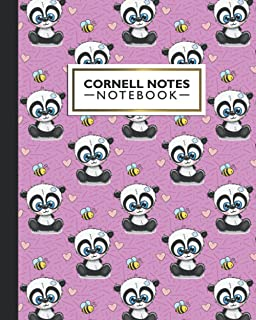 Cornell Notes Notebook: Cornell Note Paper Notebook | Cute Pink Kawaii Sad Panda Bear & Bee Doodles | Blank College Ruled ...