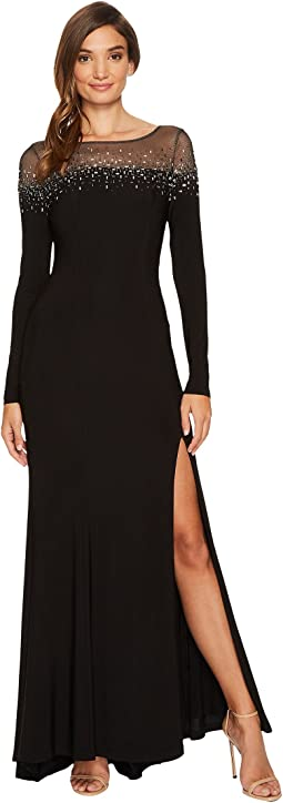 Vince Camuto - Long Sleeve Gown w/ Heatset Embellishment