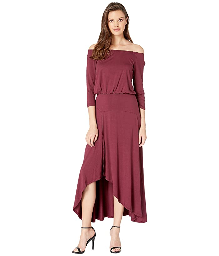 American Rose Kai 3/4 Sleeve Off the Shoulder Dress (Burgundy) Women