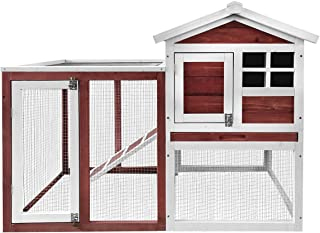 Merax Rabbit Bunny Hutch House with Black Linoleum Roof, Auburn and White
