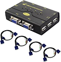 4 Port VGA KVM Switch with USB Hub Support Wireless Keyboard Mouse Connection and Push..