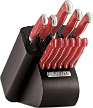 Sabatier 5236954 Stainless Steel Hollow Handle Edgekeeper Knife Block Set 16-Peice Bamboo (12-Piece Red)