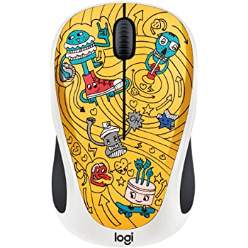 Logitech Doodle Collection M238 Mouse - Optical - Wireless - 3 Button(s) - GoGo Gold