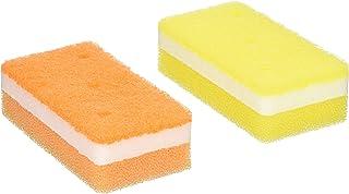 オーエ 泡キュット ソフト キッチンスポンジ イエロー オレンジ 11.8×5.9×3.2cm 穴あき構造 素早い泡立ち 水切 抗菌 傷つけにくい 3個セット