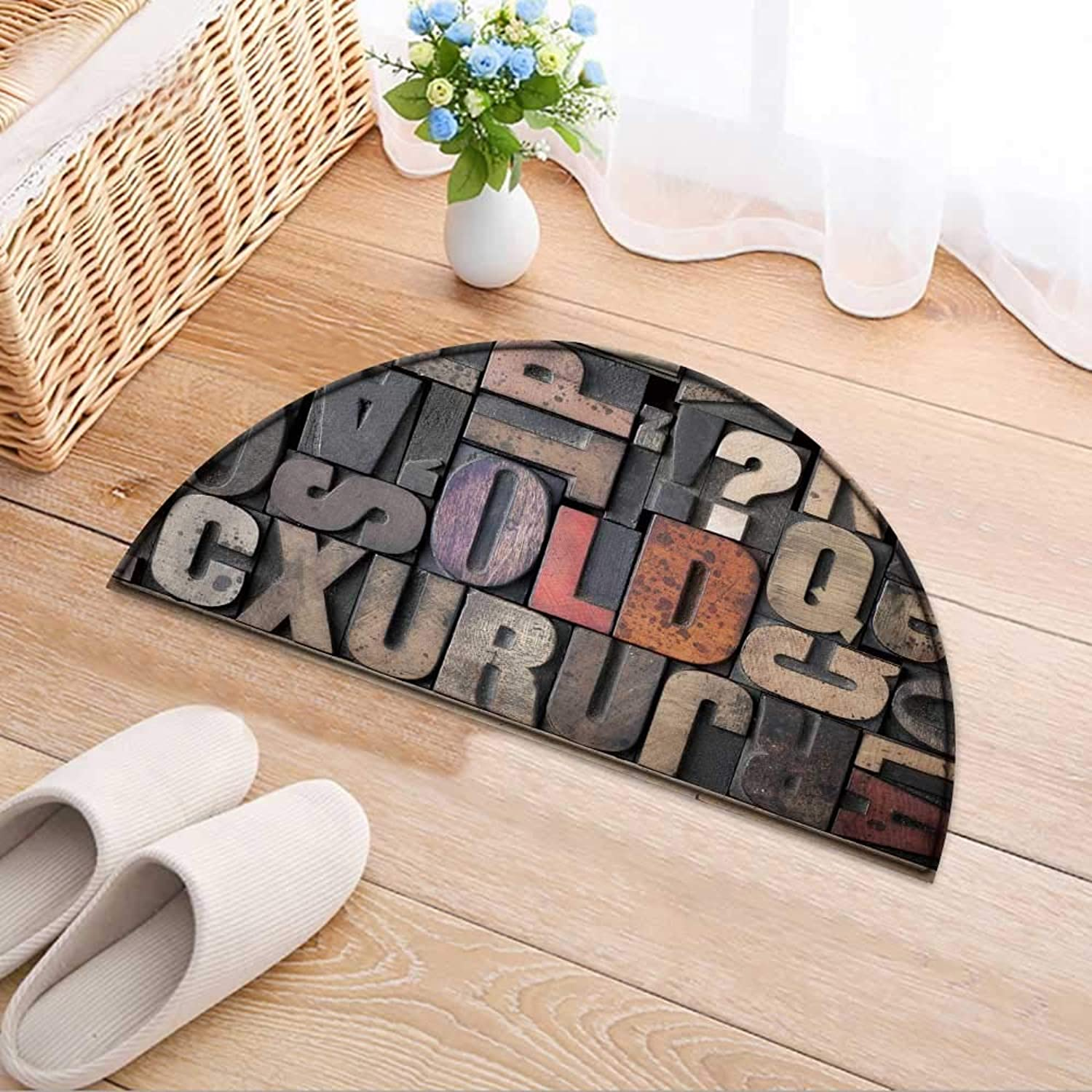 Semicircle Rug Kid Carpet The Word Spelled Out in Very Letterpress Blocks Home Decor Foor Carpe W47 x H32 INCH