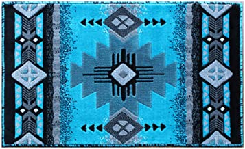 Masada Rugs, Southwest Native American Design Turquoise Area Rug (24 Inch X 40 Inch Mat)
