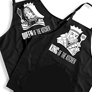 Ihopes Funny Mr Mrs Apron Set - King & Queen Kitchen Chef Apron Set Couples Present for Engagement/Wedding/Bridal Shower/A...