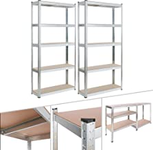 AREBOS Rek voor zware lasten | werkplaatsrek | steekrek | set van 2 | verzinkt | 5 planken | 180 x 90 x 30 cm