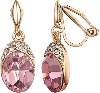 Yoursfs Clip Art Deco di fantasia sul rosso/blu orecchini di cristallo per donne in oro rosa 18ct placcato gioielli moda
