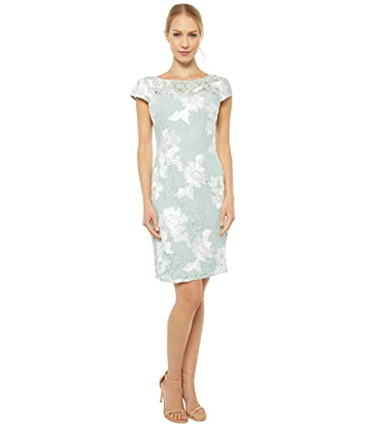 Adrianna Papell Soutache Lace Sheath Dress (Seafoam/Ivory) Women