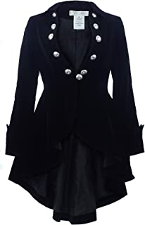CSDttT XS-28 Velvet Wine Waterfall - Black Victorian Gothic Ruffle High-Low Jacket