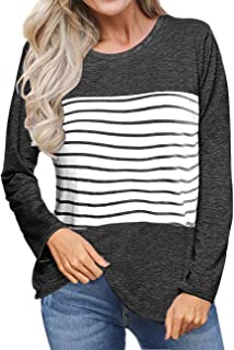 2ae0dda37d3f Sanifer Women s Casual Long Sleeve Color Block Striped T Shirts Tunic Tops  Blouses