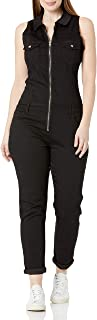 V.I.P. JEANS womens Skinny Sleeveless Zip Up Denim Jumpsuit Romper Jeans