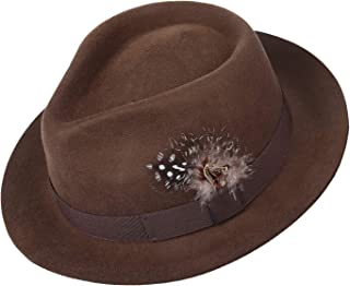Deevoov Men Fedora Hats with Feather Australia Wool Trilby Hat 02d3e575ad2