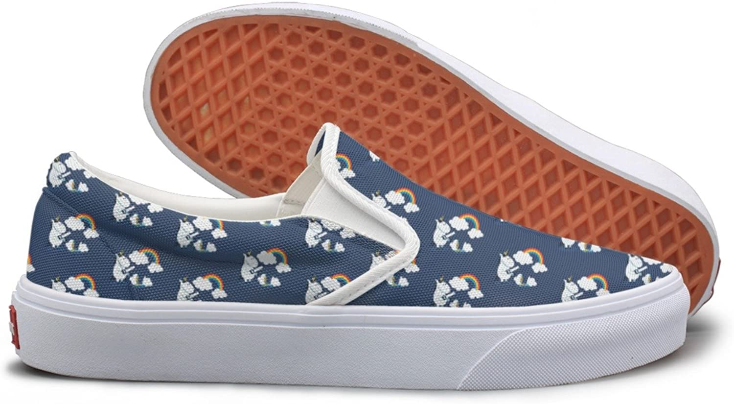 Lalige Unicorn Sawing The Cloud Womens Funny Canvas Slip-on Travel shoes