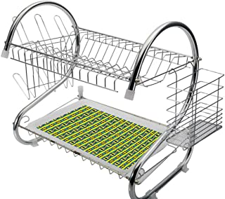 Stainless Steel 2-Tier Dish Drainer Rack Kente Pattern Kitchen Drying Drip Tray Cutlery Holder Geometric Vertical Borders Funky Colorful Native Kenya Design with Triangles,Multicolor,Storage Space Sav