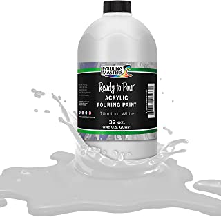 Pouring Masters Titanium White Acrylic Ready to Pour Pouring Paint – Premium 32-Ounce Pre-Mixed Water-Based - for Canvas, ...