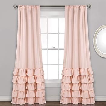 Amazon Com Lush Decor Allison Ruffle Curtains Window Panel Set For Living Dining Room Bedroom Pair 84 L Blush Home Kitchen