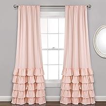 "Lush Decor Allison Ruffle Curtains Window Panel Set for Living, Dining Room, Bedroom (Pair), 84"" x 40"", Blush"