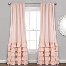 Lush Decor Allison Ruffle Curtains Window Panel Set for Living, Dining Room, Bedroom (Pair), 84