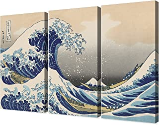 Best DECORARTS - The Great Wave Off Kanagawa(Triptych), Katsushika Hoki. Classic Art Reproduction, Giclee Print On Canvas. Stretched Canvas. 36x24 Review