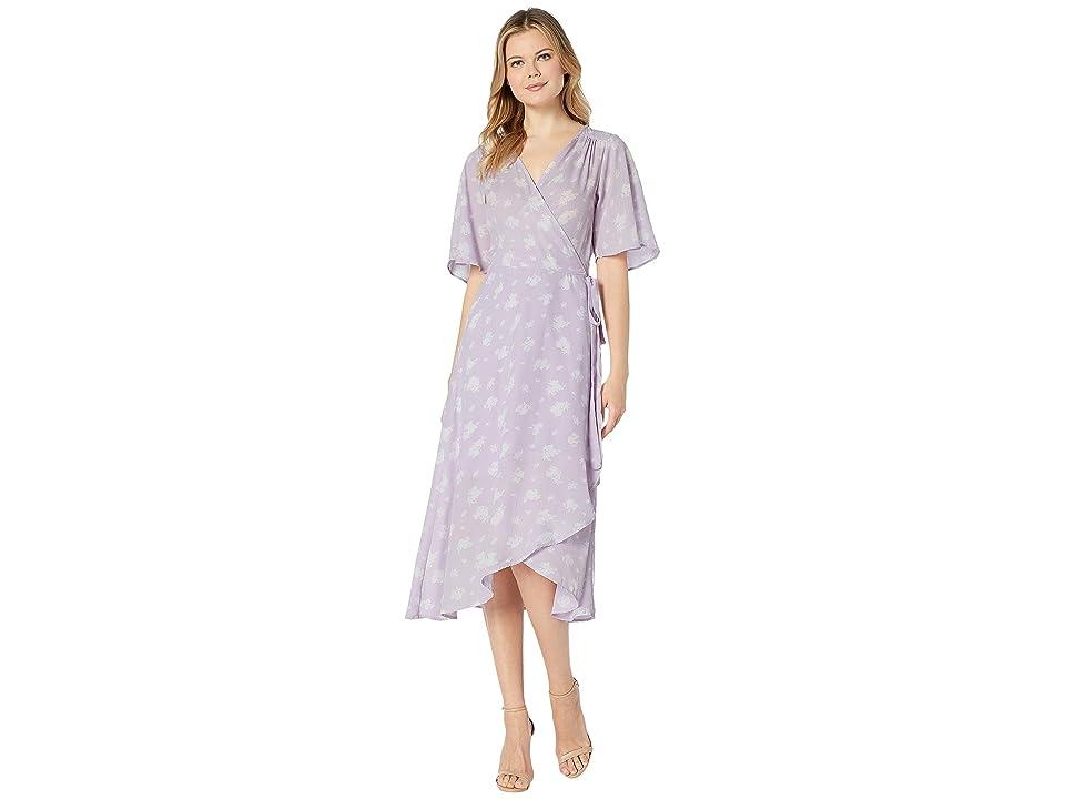 Bobeau Orna Wrap Dress (Lavender Floral) Women