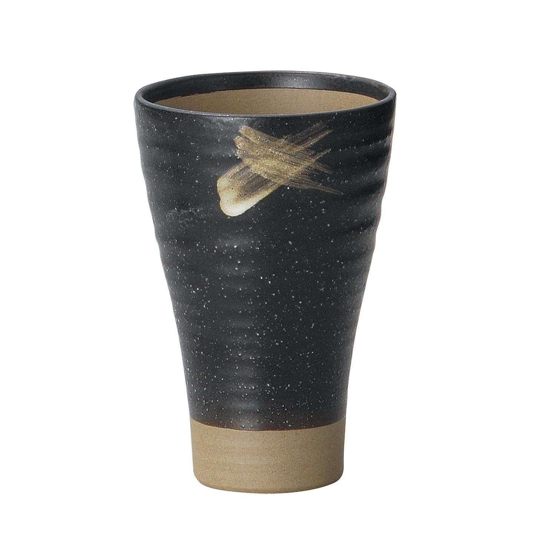 病気異常気を散らす宗峰窯 陶器 タンブラー 天昇 ビール 黒 φ9.8×14.8cm(500cc) 342-30-543