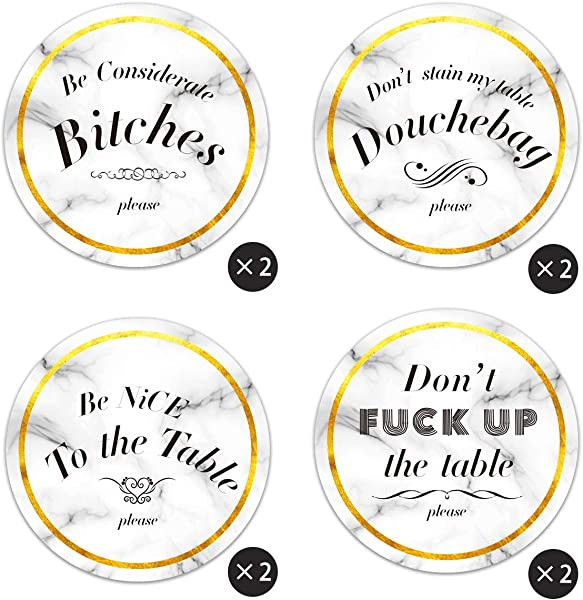 Vencer Set Of 8 Coasters For Drinks Absorbent Drink Coaster Ceramic With Cork Back No Holder Funny Coasters Marble Style Housewarming Gifts