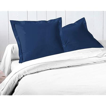 Home Linge Passion Taies d'oreillers en Lot de 2, Bleu, 63x63 cm