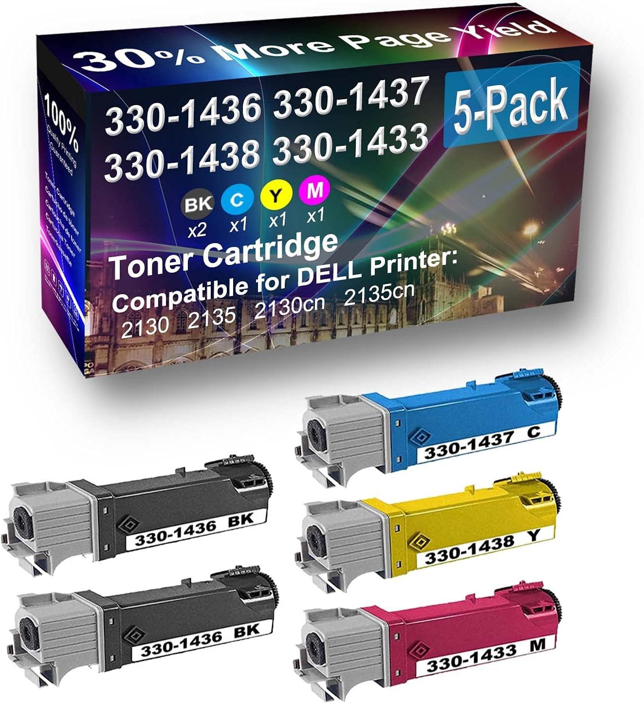 5-Pack (2BK+C+Y+M) Compatible High Yield 330-1436+ 330-1437+ 330-1438+ 330-1433 Laser Printer Toner Cartridge Used for Dell 2135cn Printer